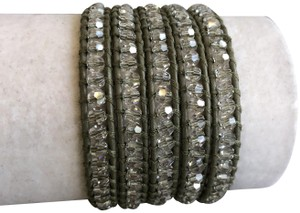 Chan Luu New Auth Chan Luu Moonlight Crystal Five Wrap Bracelet on Olive Green