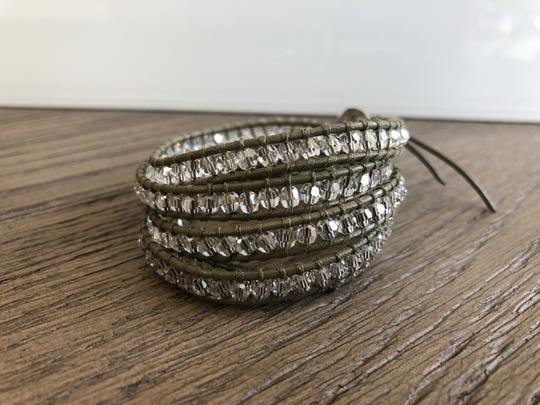 Chan Luu New Auth Chan Luu Moonlight Crystal Five Wrap Bracelet on Olive Green Image 1