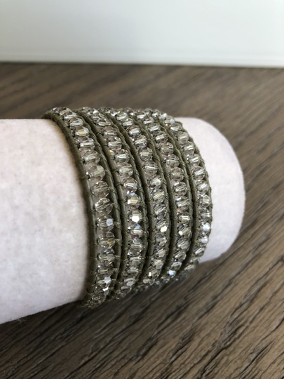 Chan Luu New Auth Chan Luu Moonlight Crystal Five Wrap Bracelet on Olive Green Image 2