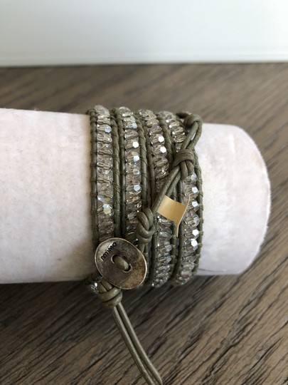 Chan Luu New Auth Chan Luu Moonlight Crystal Five Wrap Bracelet on Olive Green Image 3