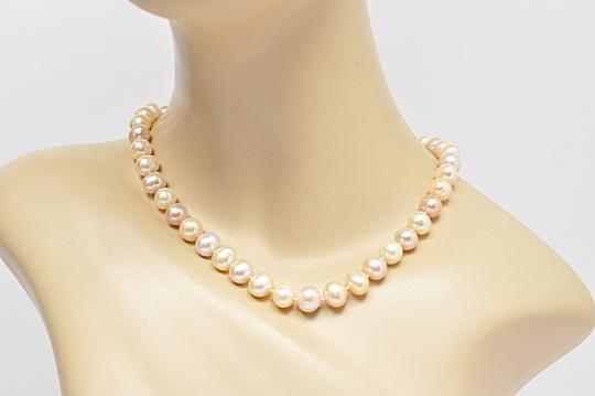 Designer LUSTROUS Fresh Water PEARL Beaded Necklace - Subtle 3 Hues Image 7