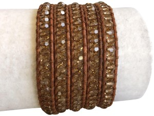 Chan Luu New Auth Chan Luu Beige Crystal Five Wrap Bracelet on Natural Brown Le