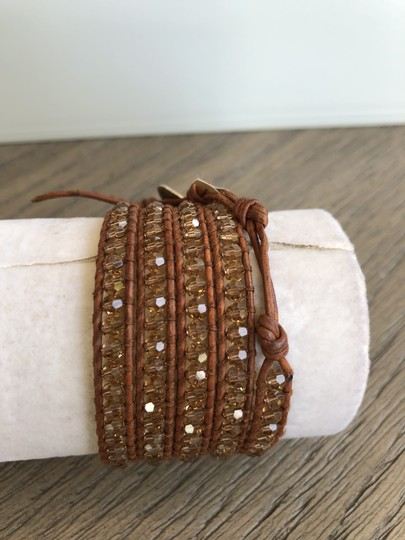 Chan Luu New Auth Chan Luu Beige Crystal Five Wrap Bracelet on Natural Brown Le Image 1
