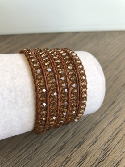 Chan Luu New Auth Chan Luu Beige Crystal Five Wrap Bracelet on Natural Brown Le Image 2