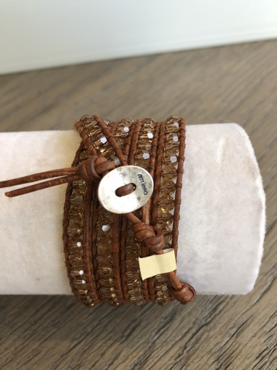 Chan Luu New Auth Chan Luu Beige Crystal Five Wrap Bracelet on Natural Brown Le Image 3