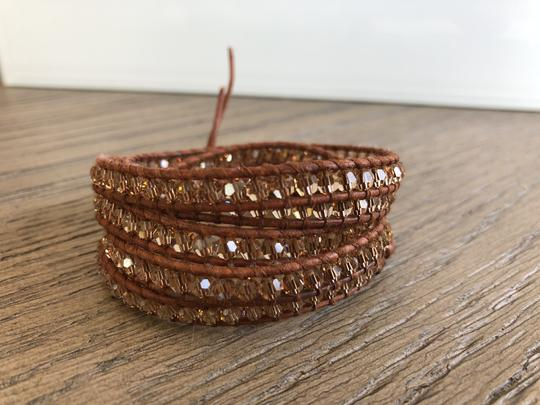 Chan Luu New Auth Chan Luu Beige Crystal Five Wrap Bracelet on Natural Brown Le Image 4