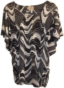 JM Collection Gathered Bold Stretchy Sequin Flowy Top black white