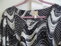 JM Collection Gathered Bold Stretchy Sequin Flowy Top black white Image 1