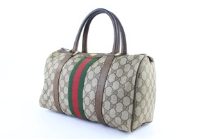 Gucci Speedy Boston Doctors Duffle Web Satchel in Beige