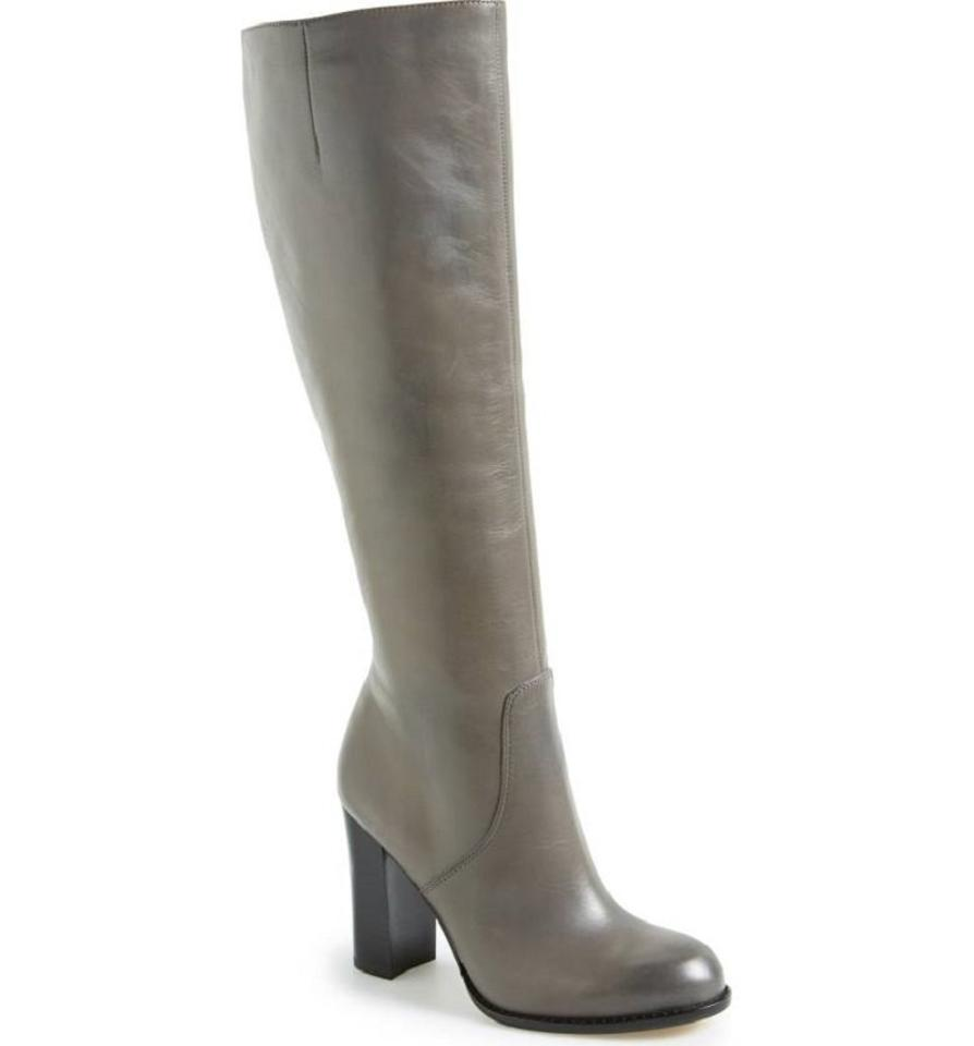 Sam Edelman Grey Regina Leather Tall Knee High Boots