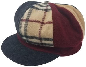 Burberry Brown, red multicolor Burberry London plaid wool newsboy hat M sz