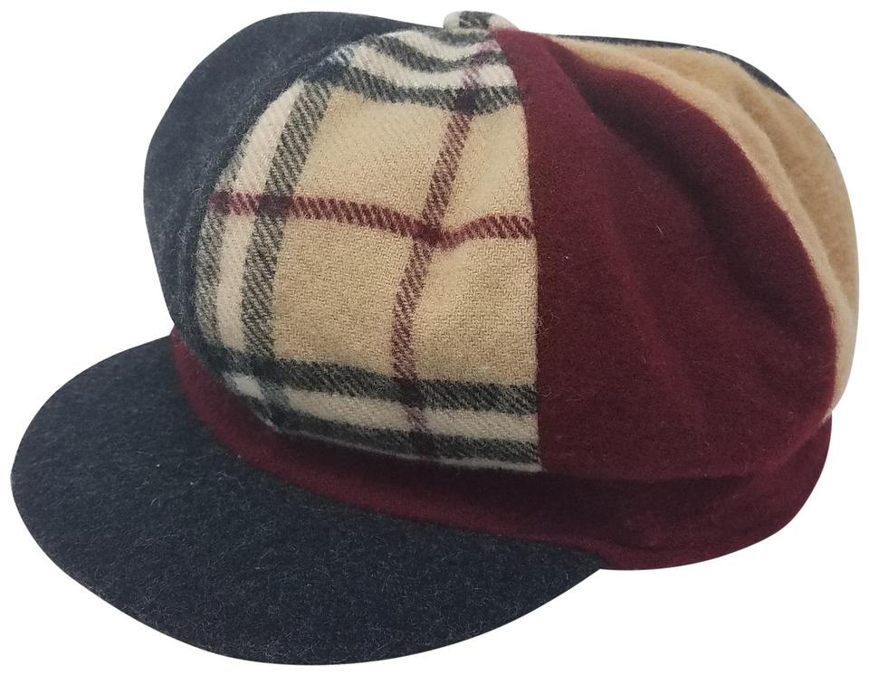 36e120a2874 Burberry Brown Red Multicolor London Plaid Wool Newsboy M Hat - Tradesy