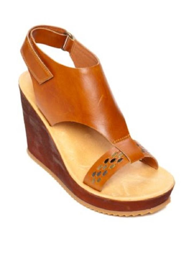 Antelope Brown Beaded Strap Leather Ankle Strap Beaded Wedge Sandals c93df5