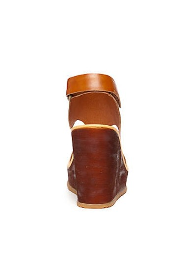Antelope Leather Wedge Ankle Strap Brown Sandals Image 2