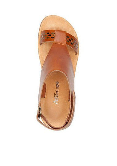 Antelope Leather Wedge Ankle Strap Brown Sandals Image 3