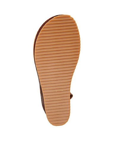 Antelope Leather Wedge Ankle Strap Brown Sandals Image 4