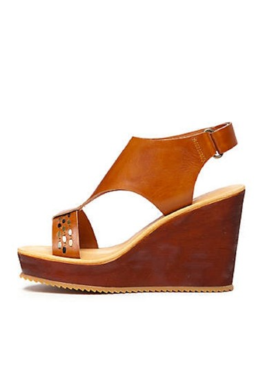 Antelope Leather Wedge Ankle Strap Brown Sandals Image 6