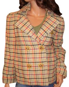 Marc Jacobs Wool Pea Coat Beige plaid Jacket