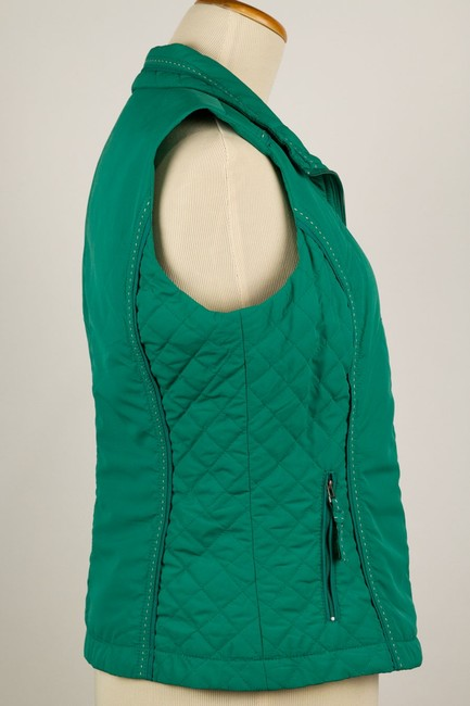 Coldwater Creek Quilted Sides Zipper Pockets Vest Image 1