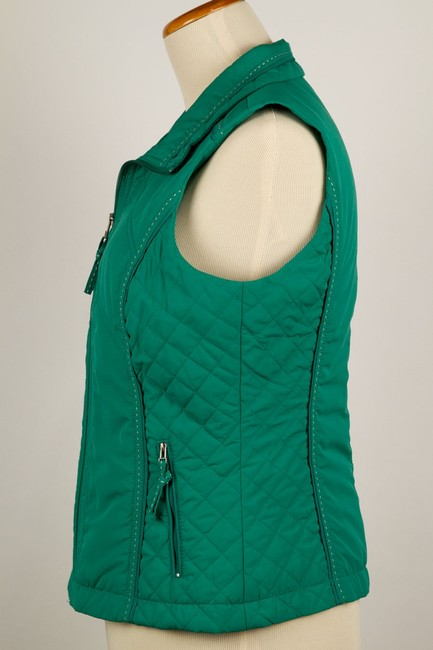 Coldwater Creek Quilted Sides Zipper Pockets Vest Image 3