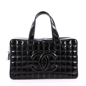 Chanel Chocolate Bar Patent Satchel in Black