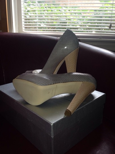 Brian Atwood Grey/Nude/Yellow Pumps
