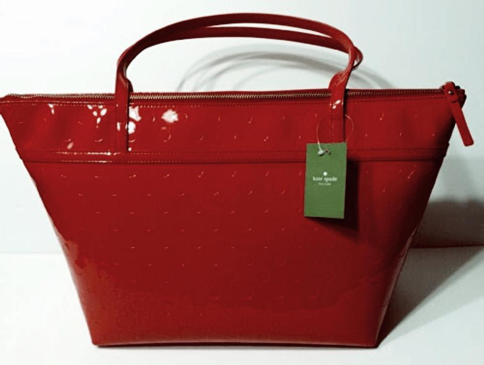 Kate Spade Sophie Camilla Patent Leather Tote In Red 123456789