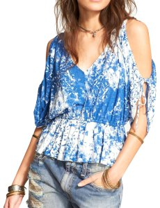 Free People Open Shoulder Floral Print Scoop Back Jersey Top