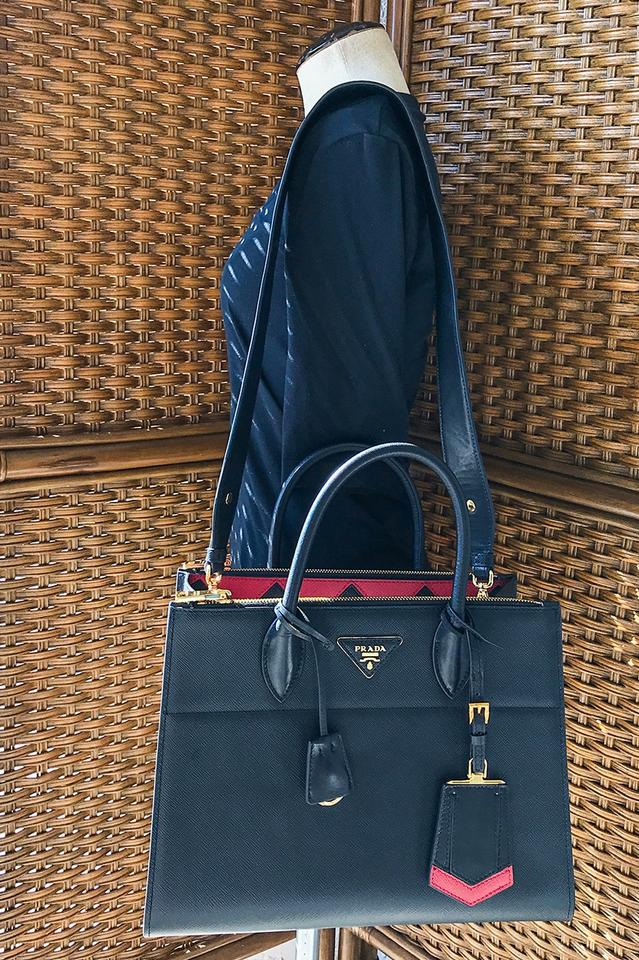 a79abd93f7aa56 Prada Paradigme & Red Saffiano Black Leather Tote - Tradesy