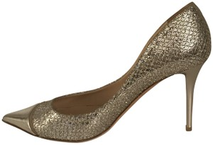 Jimmy Choo Glitter Pointy Toe Leather Champagne Pumps