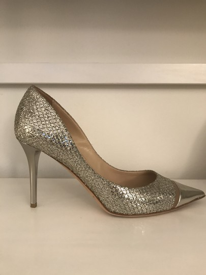 Jimmy Choo Glitter Pointy Toe Leather Champagne Pumps Image 1