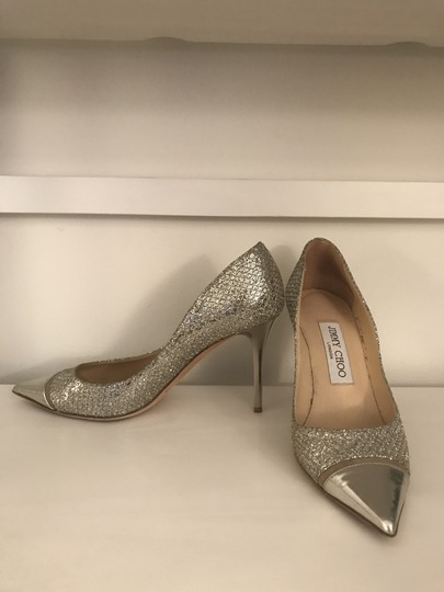 Jimmy Choo Glitter Pointy Toe Leather Champagne Pumps Image 2