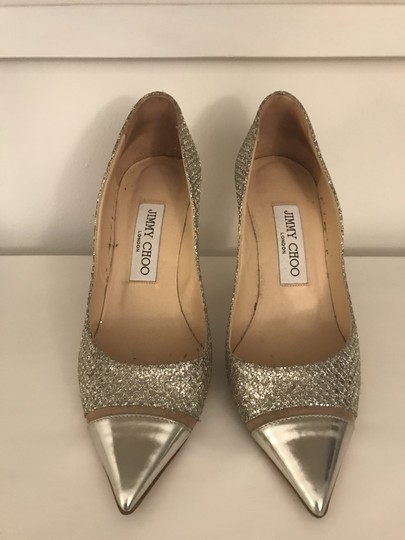 Jimmy Choo Glitter Pointy Toe Leather Champagne Pumps Image 3