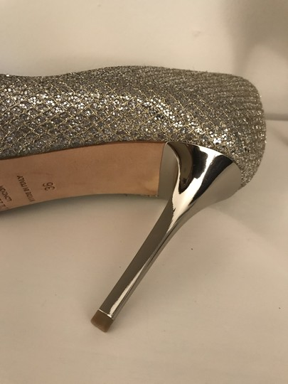 Jimmy Choo Glitter Pointy Toe Leather Champagne Pumps Image 4