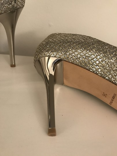 Jimmy Choo Glitter Pointy Toe Leather Champagne Pumps Image 5