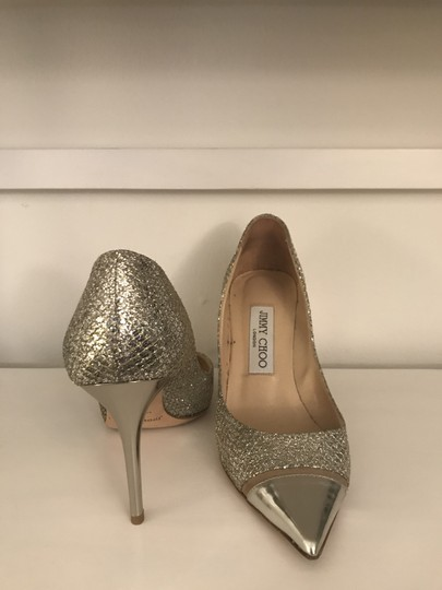 Jimmy Choo Glitter Pointy Toe Leather Champagne Pumps Image 7