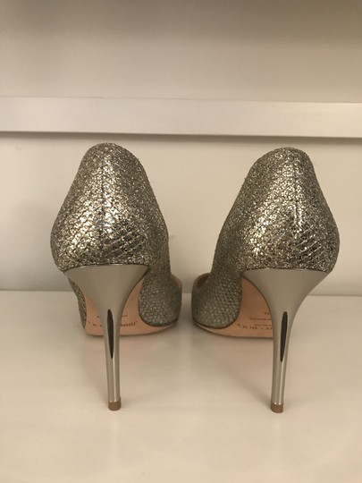 Jimmy Choo Glitter Pointy Toe Leather Champagne Pumps Image 8