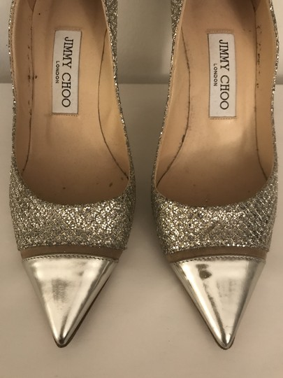 Jimmy Choo Glitter Pointy Toe Leather Champagne Pumps Image 9