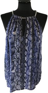 Michael Kors Animal V Neck Cut Out Casual Top Blue Snake Print