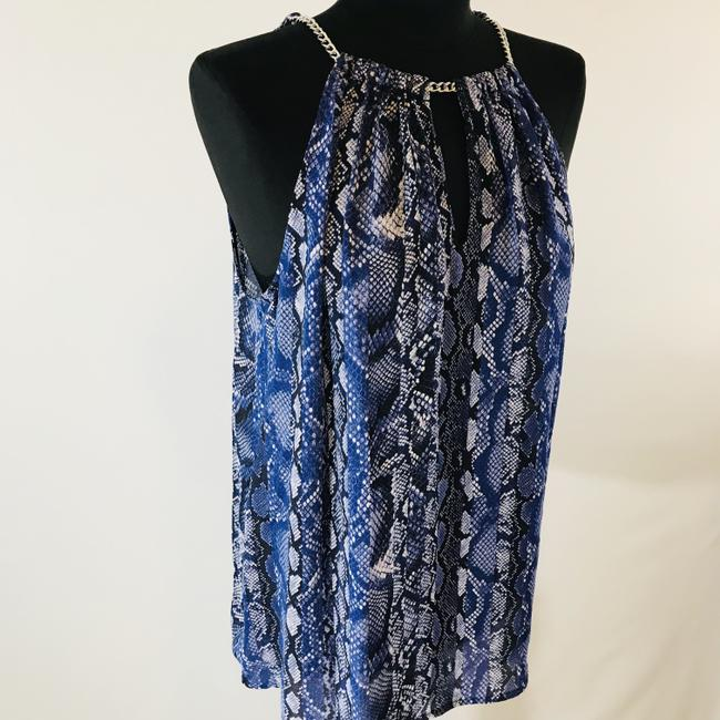 Michael Kors Animal V Neck Cut Out Casual Top Blue Snake Print Image 2