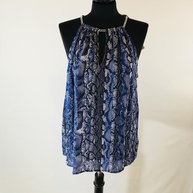 Michael Kors Animal V Neck Cut Out Casual Top Blue Snake Print Image 3