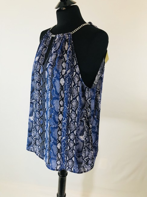 Michael Kors Animal V Neck Cut Out Casual Top Blue Snake Print Image 6