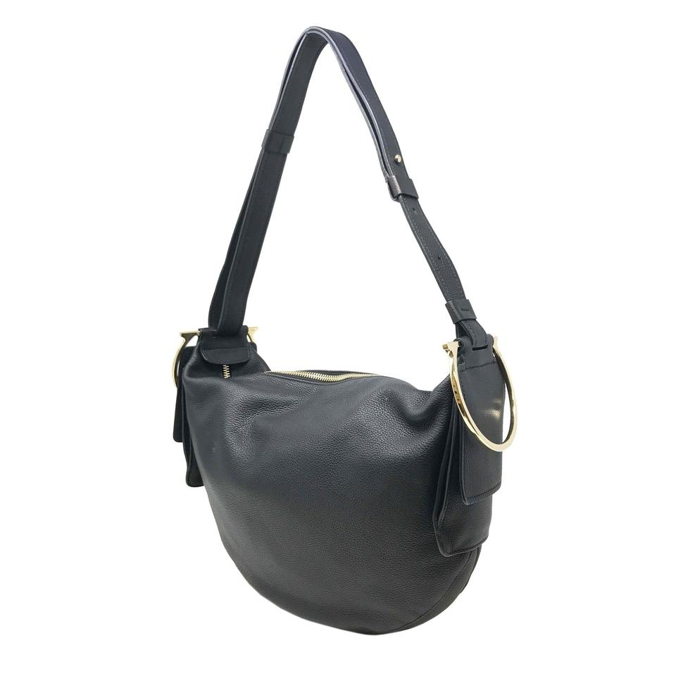 4b56870e3c8c Salvatore Ferragamo Badia Gancio Black Leather Hobo Bag - Tradesy