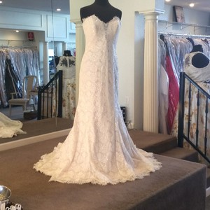 Allure Bridals Gold/Ivory Lace 9107 Formal Wedding Dress Size 12 (L)