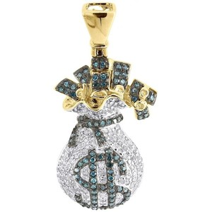 Jewelry For Less Blue Diamond Money Bag Pendant 10k Yellow Gold Round Dollar Sign 1 Ct