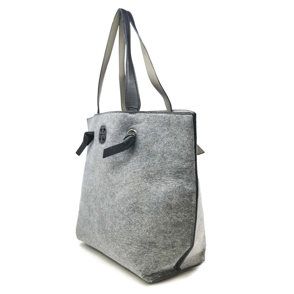 7c9675f65507 Tory Burch Color Block Grey Leather Tote - Tradesy