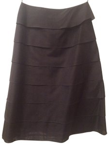 Barneys New York Silk Cocktail Tiered Skirt Black