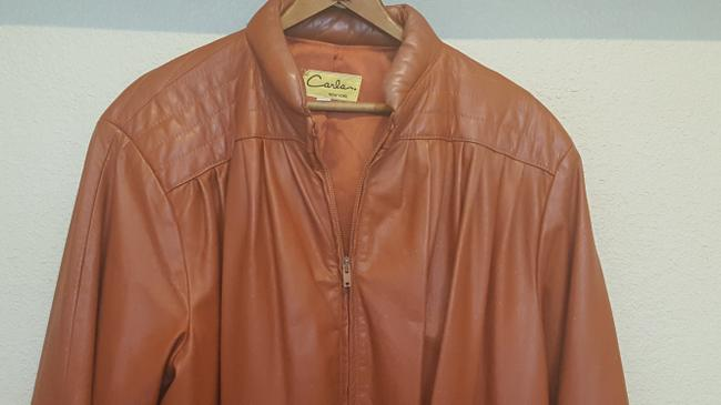 Carla Vintage 80's Disco Burnt Orange Leather Jacket Image 2