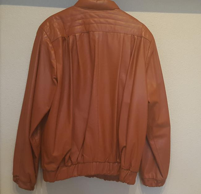 Carla Vintage 80's Disco Burnt Orange Leather Jacket Image 3