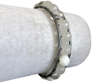 Chan Luu New Auth Chan Luu White Mix Single Wrap Bracelet on Silver Leather